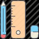 elements, school, education, pencil, rubber, ruler, student