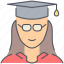 college, female, girl, graduation, knowledge, student, university icon