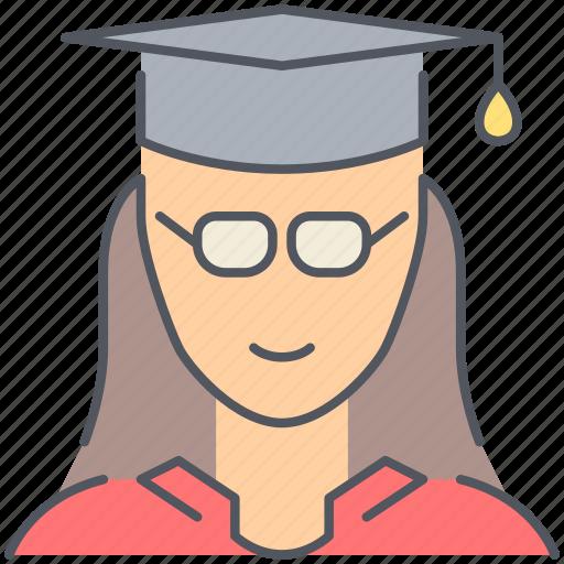 college, female, girl, graduation, knowledge, student, university icon