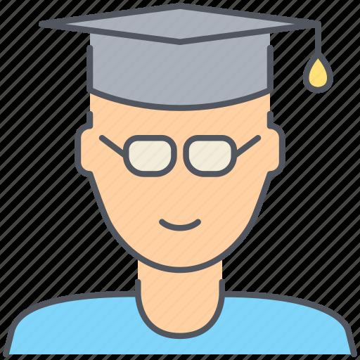 college, graduation, male, person, school, student, university icon