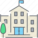 building, college, education, library, public, school, university icon