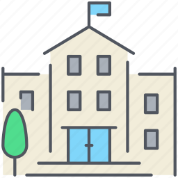 building, college, education, library, public, school, university icon