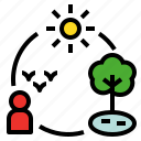 bionomics, ecology, ecosystem, environment, nature, relation icon