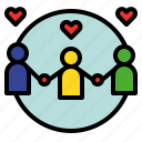 collaborate, combine, love, peace, relation, relational, together icon