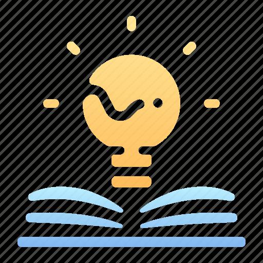 book, creative, genius, idea, knowledge, lamp, light icon