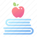 apple, book, creative, intellect, intelligence, knowledge, wisdom icon