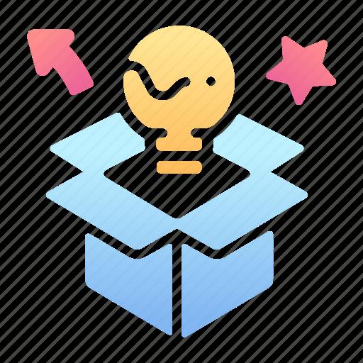 box, creative, creativity, inspiration, outside, star, think icon