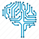 artificial intelligence, brain, cyborg, electronics, intelligence, mind, technology icon