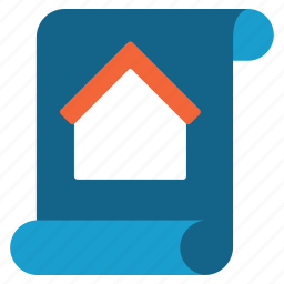 blueprint, design, home, plan, real estate, scheme, script icon