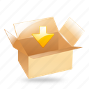 box, down, download, import, package icon