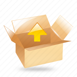 arrow, box, export, package, up, upload icon