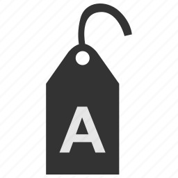 a, clothes, clothing, label, size, tag icon