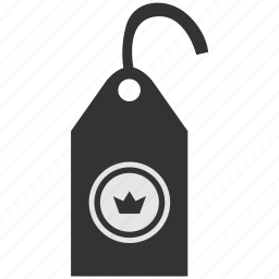 clothes, clothing, crown, label, premium, tag icon