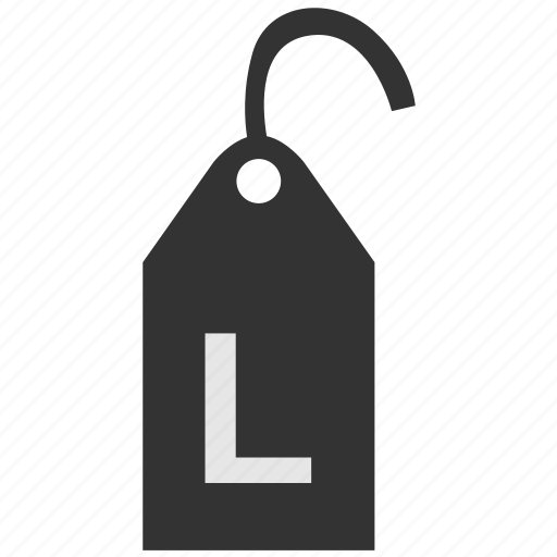 clothes, clothing, l, label, size, tag icon