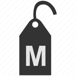 clothes, clothing, label, m, size, tag icon