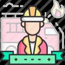 fireman, engine, fire, truck