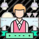 waiter, restaurant, food service, uniform, staff