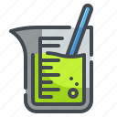 agitator, assay, beaker, chemistry, education, lab, volumetric icon