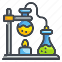 bunsen, burner, chemical, education, flask, lab, science icon