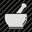 chemical, laboratory, mortar, pestle, pharmacy, porcelain icon