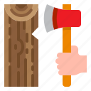 axe, tool, weapon, wood, woodcutter icon