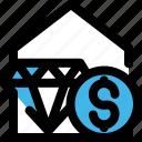 asset, diamond, dollar, house, property, valuables, wealth icon