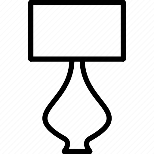 furniture, lamp, light, outline, table icon