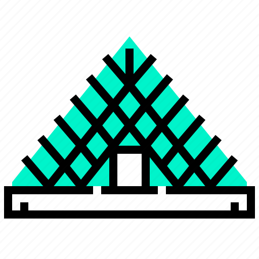 building, landmark, louvre, pyramid icon
