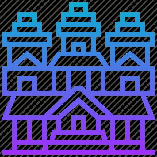 angkor, archaeological, building, landmark icon