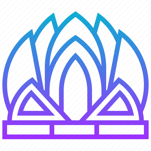 building, landmark, lotus, temple icon