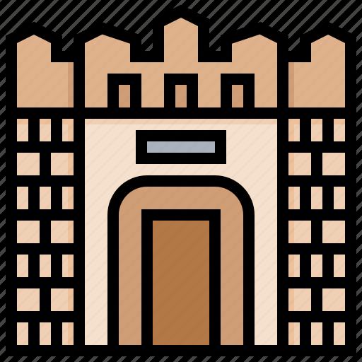 building, fortress, landmark, nis icon