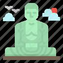 buddha, daibutsu, great, japan, kamakura icon
