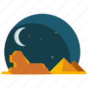 egypt, landmarks, moon, night, pyramids, sphinx icon