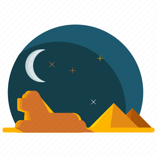egypt, landmarks, moon, night, pyramids, sphinx icon