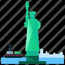 librety, landmarks, new york, lady, america icon
