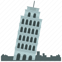 europe, landmark, leaning, pisa, tower icon