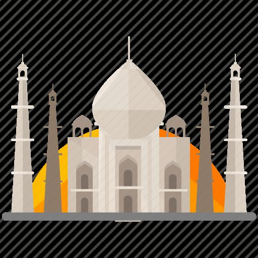 india, landmarks, mahal, taj icon