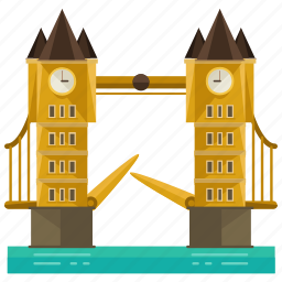 bridge, clock, landmarks, london, tower icon