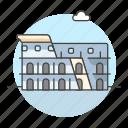 architecture, coliseum, colosseum, construction, italy, landmarks, monument, national, symbol icon