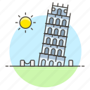 architecture, italy, landmarks, leaning, monument, national, pisa, symbol, tower icon