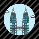 landmarks, malaysia, national, petronas, skyscraper, symbol, towers, twin icon