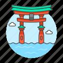 architecture, itsukushima, japan, landmarks, national, of, shrine, symbol, torii icon
