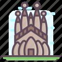 barcelona church, barcelona monument, la sagrada familia, sagrada familia, spanish landmark icon
