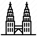 kuala lumpur, malaysia landmark, malaysia monument, petronas twin tower, twins towers icon