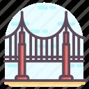 california bridge, golden bridge, golden gate, golden gate bridge, suspension bridge icon