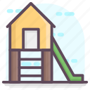 kindergarten, play area, playground, swing area, swing slide icon