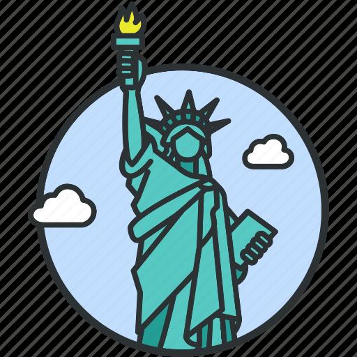 america, freedom, landmark, liberty, monument, statue, tourism icon