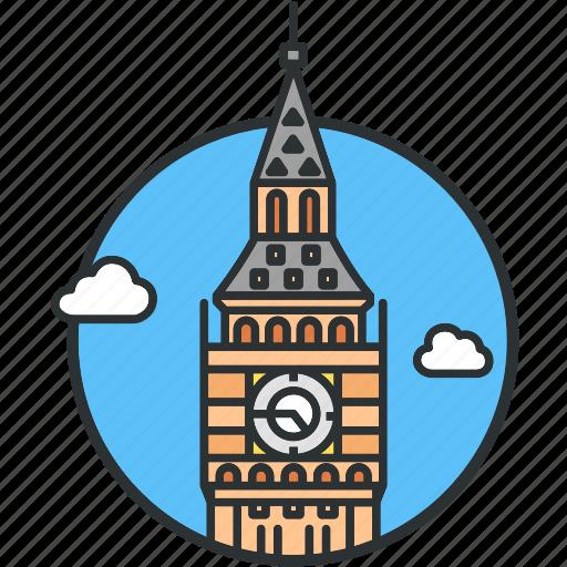 ben, big, clock, landmark, london, tower, watch icon