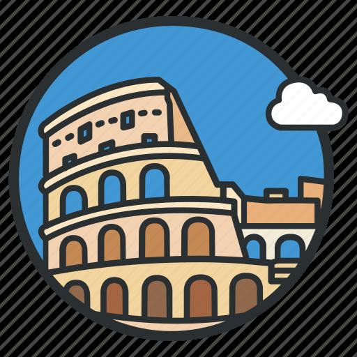 ampitheatre, coliseum, colosseum, italy, landmark, roman, rome icon