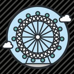 amusement, carnival, eye, ferris, giant, london, wheel icon